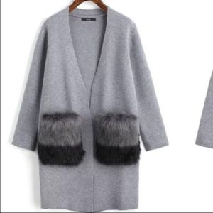 Zara faux fur cardigan size small
